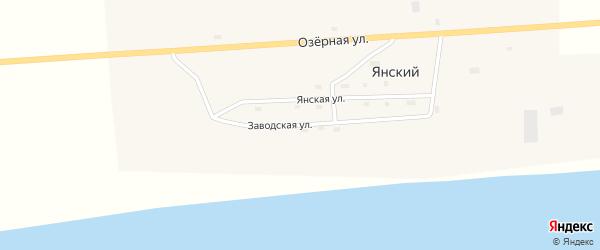 Заводская улица на карте Янского поселка Магаданской области с номерами домов