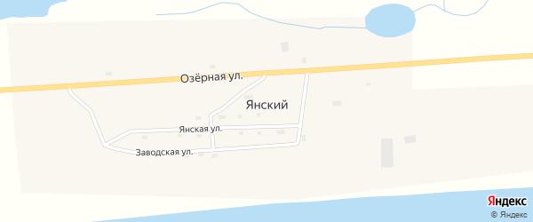Дорожная улица на карте Янского поселка с номерами домов