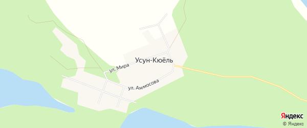 Карта села Усуна-Кюеля в Якутии с улицами и номерами домов