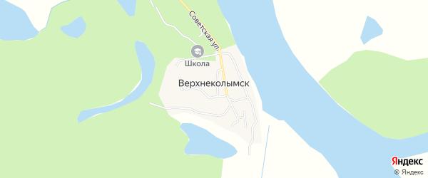 Карта села Верхнеколымска в Якутии с улицами и номерами домов