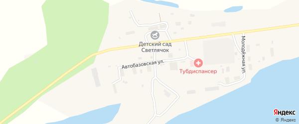 Автобазовская улица на карте поселка Зырянки Якутии с номерами домов