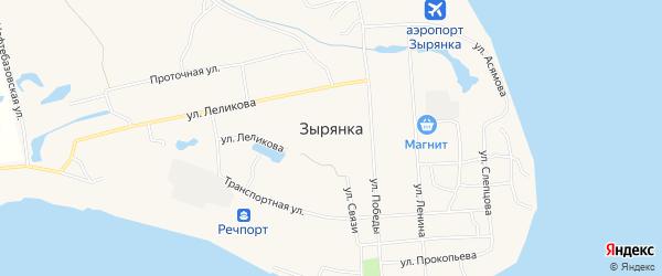 Карта поселка Зырянки в Якутии с улицами и номерами домов