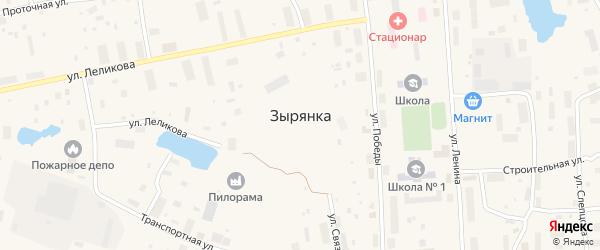 Улица Нефтебазовский на карте поселка Зырянки Якутии с номерами домов