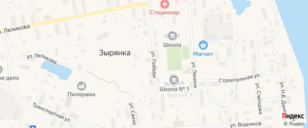 Улица Победы на карте поселка Зырянки Якутии с номерами домов