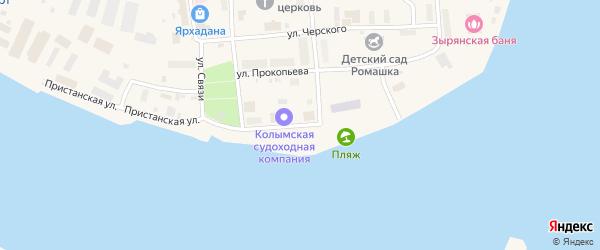 Улица Стадухина на карте поселка Зырянки Якутии с номерами домов