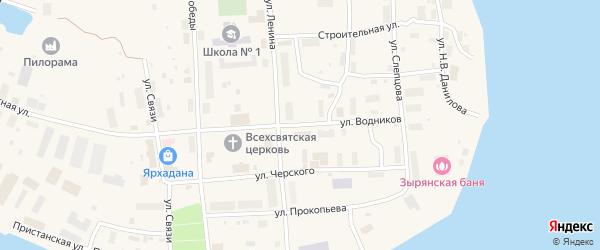 Улица Водников на карте поселка Зырянки Якутии с номерами домов