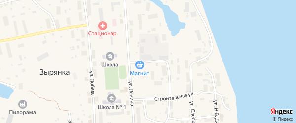 Улица Пищевиков на карте поселка Зырянки Якутии с номерами домов