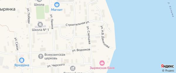 Улица Юткина на карте поселка Зырянки Якутии с номерами домов