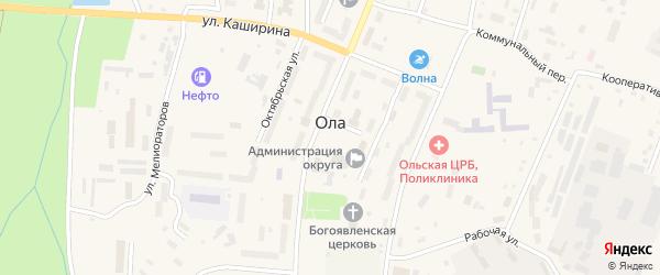 Площадь Ленина на карте поселка Ола Магаданской области с номерами домов