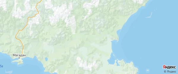 Карта Ольского района Магаданской области с городами и населенными пунктами