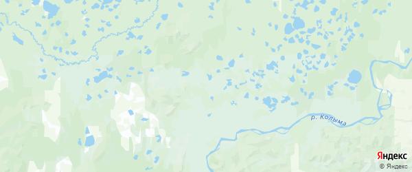 Карта Среднеколымского улуса Республики Якутии с городами и населенными пунктами
