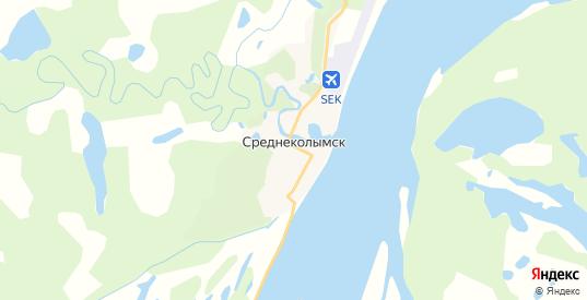 Карта Среднеколымска с улицами и домами подробная. Показать со спутника номера домов онлайн