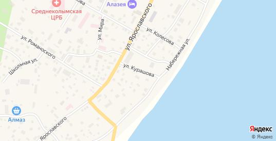 Улица Курашова в Среднеколымске с номерами домов на карте. Спутник и схема онлайн