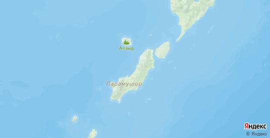Карта Северо-курильского района Сахалинской области с городами и населенными пунктами