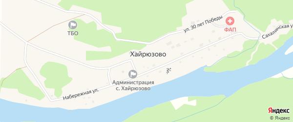 Улица 30 лет Победы на карте села Хайрюзово Камчатского края с номерами домов