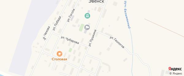 Улица Пушкина на карте поселка Эвенска Магаданской области с номерами домов