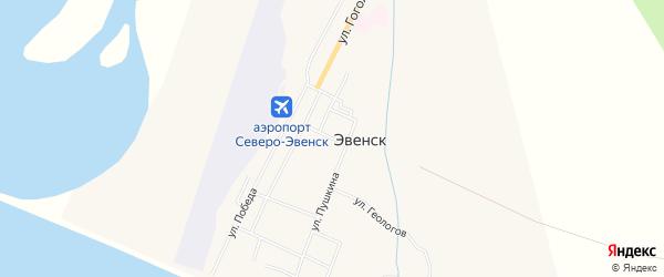 Карта поселка Эвенска в Магаданской области с улицами и номерами домов