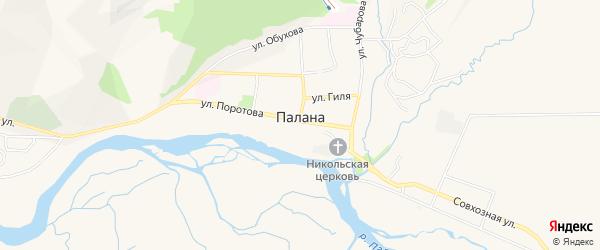 Карта поселка Палана в Камчатском крае с улицами и номерами домов