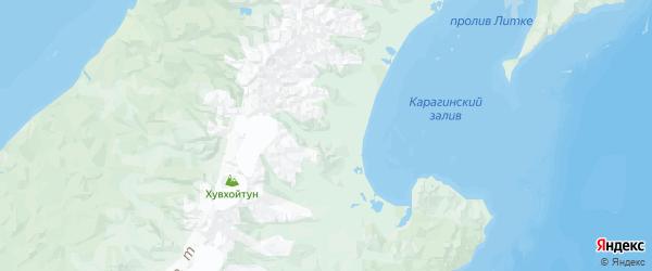 Карта Карагинского района Камчатского края с городами и населенными пунктами