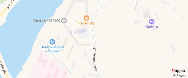 Улица Чемоданова на карте Певека с номерами домов