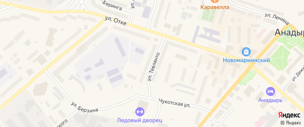 Улица Тевлянто на карте Анадыря с номерами домов