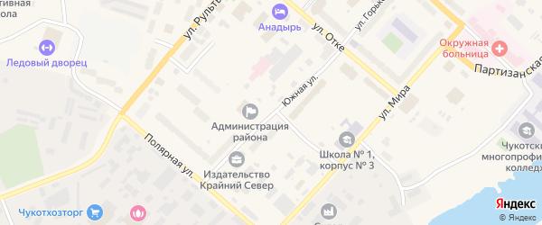 Южная улица на карте Анадыря с номерами домов