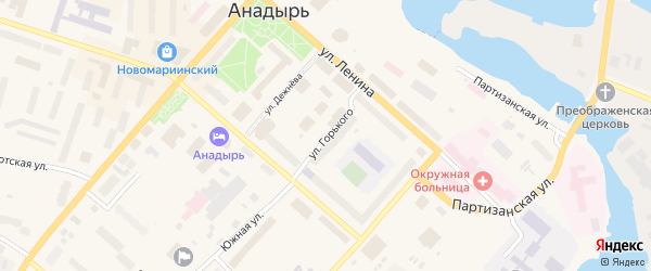 Улица Горького на карте Анадыря с номерами домов