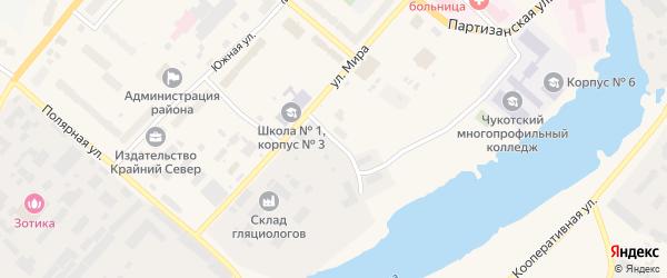 Чукотский переулок на карте Анадыря с номерами домов