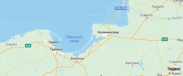 Карта Балтийский района Калининградской области с городами и населенными пунктами