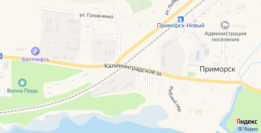 Улица Калининградское шоссе в Приморске с номерами домов на карте. Спутник и схема онлайн