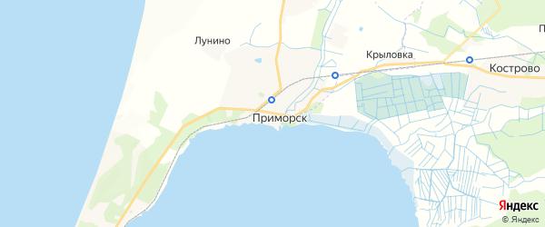 Карта Приморска с районами, улицами и номерами домов: Приморск на карте России