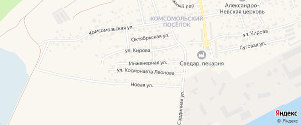 Инженерная улица на карте Светлого с номерами домов