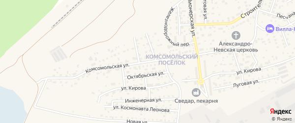 Комсомольская улица на карте Светлого с номерами домов