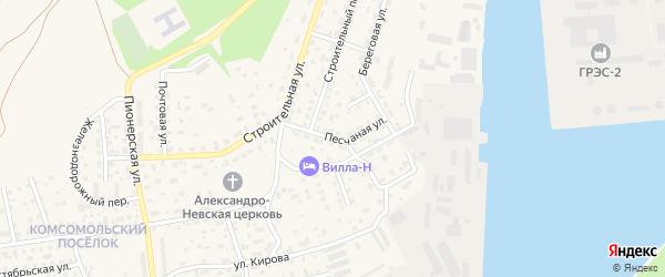 Песчаная улица на карте Светлого с номерами домов