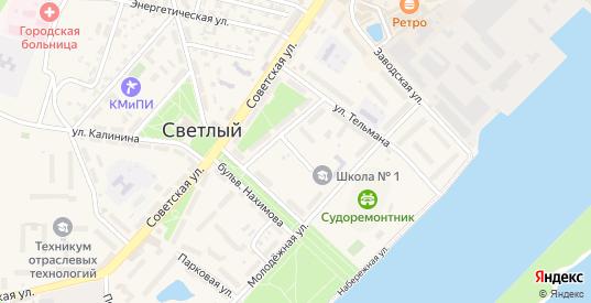Красноармейский переулок в Светлом с номерами домов на карте. Спутник и схема онлайн