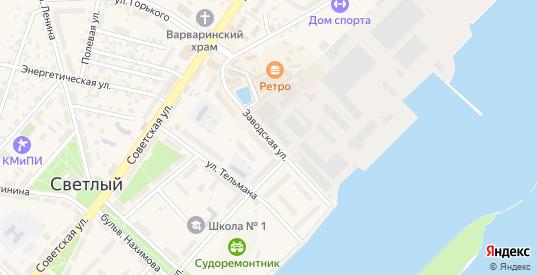 Заводская улица в Светлом с номерами домов на карте. Спутник и схема онлайн