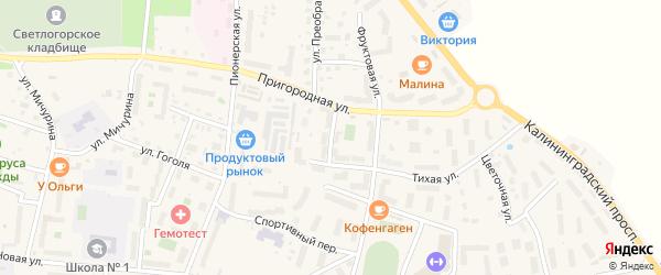 Сиреневый переулок на карте Светлогорска с номерами домов
