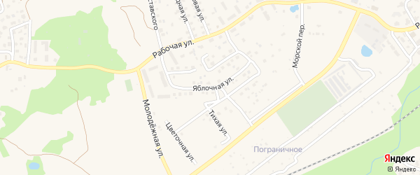 Яблочная улица на карте Пионерского с номерами домов