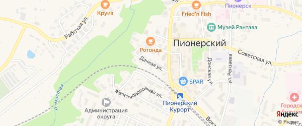 Дачная улица на карте Пионерского с номерами домов