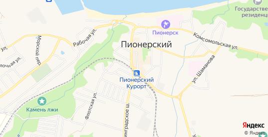 СНТ Лесное на карте Пионерского с номерами домов