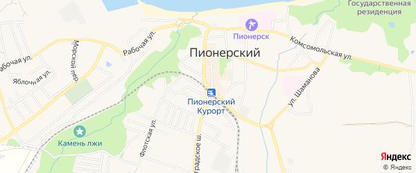 Садовое товарищество Пограничный на карте Пионерского с номерами домов