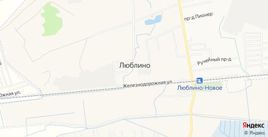 Карта поселка Люблино в Светлом с улицами, домами и почтовыми отделениями со спутника онлайн