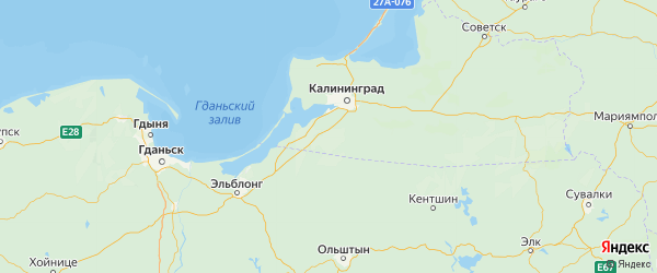 Карта Багратионовский района Калининградской области с городами и населенными пунктами