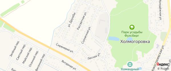Солнечная улица на карте поселка Холмогоровки Калининградской области с номерами домов