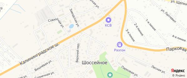 Тепличная улица на карте поселка Шоссейного Калининградской области с номерами домов