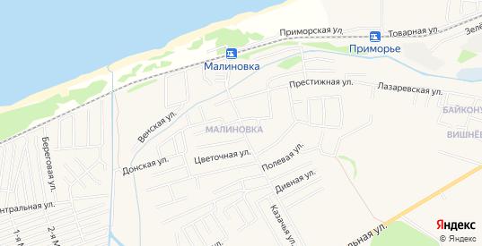 Карта поселка Малиновка в Зеленоградске с улицами, домами и почтовыми отделениями со спутника онлайн