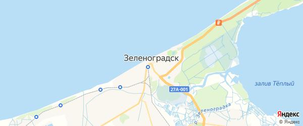Карта Зеленоградска с районами, улицами и номерами домов