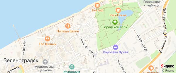1-й Октябрьский переулок на карте Зеленоградска с номерами домов