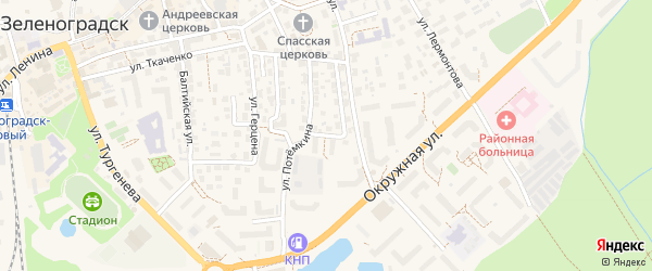 Автодорожная улица на карте Зеленоградска с номерами домов
