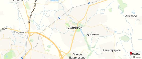 Карта Гурьевска с районами, улицами и номерами домов